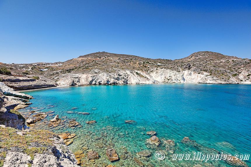 A small beach near Mandrakia in Milos, Greece