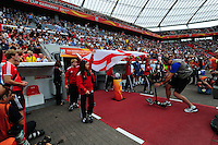 Fifa Women's World Cup Germany 2011 : England - France - at Leverkusen : Engelse vlag / English Flag entering the stadium.foto DAVID CATRY / Vrouwenteam.be
