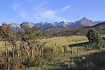 Ranch with bales of hay, Sneffels Range, Colorado