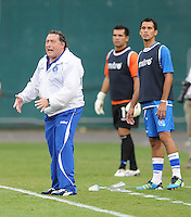 El Salvador head coach Ruben Jorge Israel. El Salvador National Team defeated Venezuela 3-2 in an international friendly at RFK Stadium, Sunday August 7, 2011.
