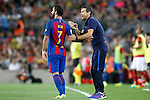 FC Barcelona's second coach Juan Carlos Unzue with Arda Turan during Supercup of Spain 2nd match.August 17,2016. (ALTERPHOTOS/Acero)