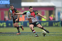 20130309 Copyright onEdition 2013©.Free for editorial use image, please credit: onEdition..Ben Botica of Harlequins takes a penalty kick during the LV= Cup semi final match between Harlequins and Bath Rugby at The Twickenham Stoop on Saturday 9th March 2013 (Photo by Rob Munro)..For press contacts contact: Sam Feasey at brandRapport on M: +44 (0)7717 757114 E: SFeasey@brand-rapport.com..If you require a higher resolution image or you have any other onEdition photographic enquiries, please contact onEdition on 0845 900 2 900 or email info@onEdition.com.This image is copyright onEdition 2013©..This image has been supplied by onEdition and must be credited onEdition. The author is asserting his full Moral rights in relation to the publication of this image. Rights for onward transmission of any image or file is not granted or implied. Changing or deleting Copyright information is illegal as specified in the Copyright, Design and Patents Act 1988. If you are in any way unsure of your right to publish this image please contact onEdition on 0845 900 2 900 or email info@onEdition.com