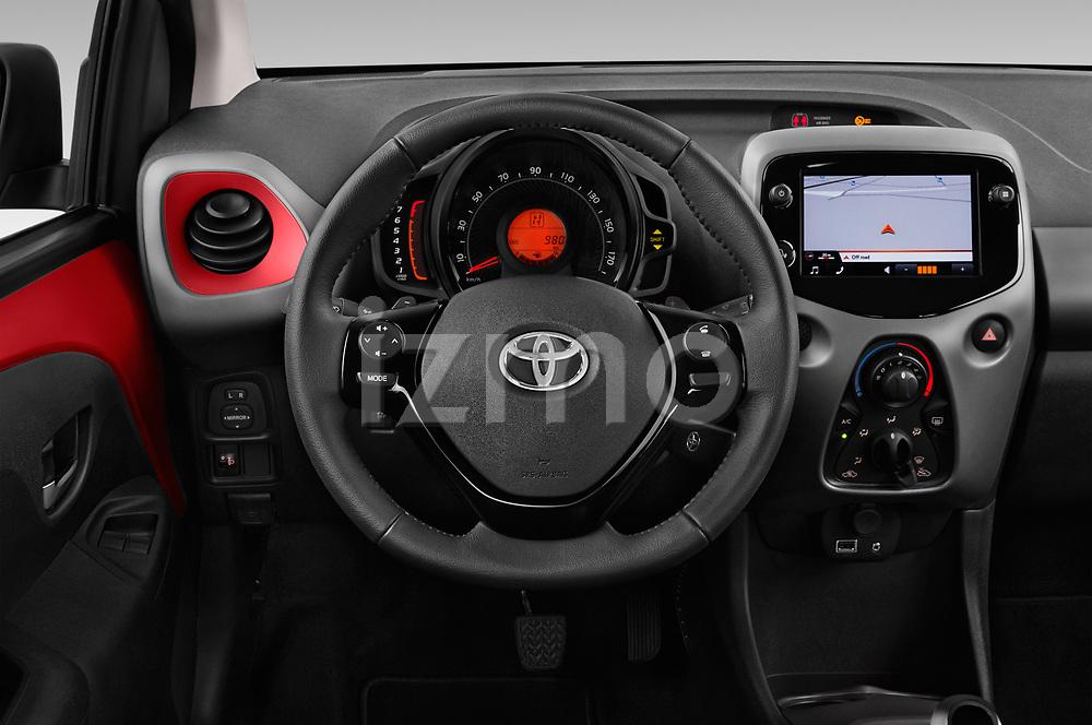 Car pictures of steering wheel view of a 2019 Toyota Aygo x-Play 5 Door Hatchback Steering Wheel