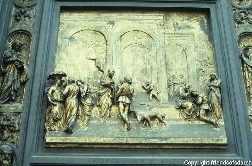 Florence: Duomo, Baptistry. East Door. Ghiberti relief sculpture of Esau, Isaac blesses Jacob. 1425-1452. Photo '83.
