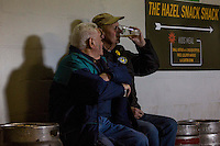 Notts County fans enjoy a drink in the stand ahead of the Sky Bet League 2 match between Newport County and Notts County at Rodney Parade, Newport, Wales on 30 April 2016. Photo by Mark  Hawkins / PRiME Media Images.