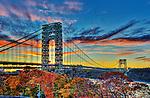 The George Washington Bridge, viewed from Washington Heights at sunset.