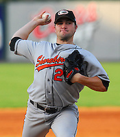 10 Aug 2007: Tim Bascom of the Delmarva Shorebirds, Class A South Atlantic League affiliate of the Baltimore Orioles, in a game against the Greenville Drive at West End Field in Greenville, S.C. Photo by:  Tom Priddy/Four Seam Images