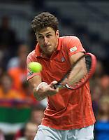 31-01-14,Czech Republic, Ostrava, Cez Arena, Davis Cup Czech Republic vs Netherlands, Robin Haase (NED)<br /> Photo: Henk Koster