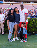 PASADENA, CA - AUGUST 4: Kobe Bryant poses with his family during a game between Ireland and USWNT at Rose Bowl on August 3, 2019 in Pasadena, California.