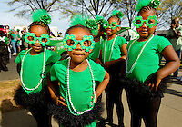 Photography of the Charlotte NC St. Patrick's Day Parade in March 2012. Image shows girls waiting to perform in the parade. Photography is part of a series of St. Patrick's Day Parade photos in Charlotte, NC.
