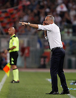 Calcio, Serie A: Lazio vs Bologna. Roma, stadio Olimpico, 22 agosto 2015.<br /> Lazio coach Stefano Pioli gives indications to his players during the Italian Serie A football match between Lazio and Bologna at Rome's Olympic stadium, 22 August 2015.<br /> UPDATE IMAGES PRESS/Isabella Bonotto