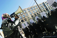"Members of a church of Black Israelites march in the Bushwick section of Brooklyn, NY on February 8, 2004 to protest the shooting of a young African-American male named Timothy Stansbury aka ""Tim-Tim"" by police officers."