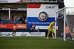 Luton Town 6 Kidderminster Harriers 0, 28/12/2013. Kenilworth Road, Football Conference. A bumper Christmas crowd packs in to Luton's old stadium with hope that this will be their year to return to the Football League. Luke Guttridge celebrates opening the scoring for Luton on their way to a 6-0 win.  Photo by Simon Gill.