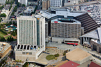 aerial photograph of the CNN Center Cable Network News corporate headquarters and Omni hotel,  Atlanta, Georgia