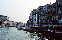 Venice:  #4.  Grand Canal in evening light--restaurant opening.  Photo '83.