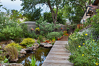 Backyard, homeowner water storage in summer-dry climate with pond  fed from cistern; Judy Adler Garden, Walnut Creek, California