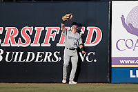Hudson Valley Renegades right fielder Elijah Dunham (14) tries to shade his eyes from the sun during the game against the Greensboro Grasshoppers at First National Bank Field on September 2, 2021 in Greensboro, North Carolina. (Brian Westerholt/Four Seam Images)