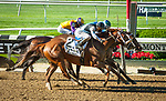 June 13, 2020: She's a Julie (middle), ridden by Ricardo Santana Jr., wins the G1 Ogden Phipps Stakes at Belmont Park in Elmont, NY. Sophie Shore/ESW/CSM