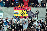 """Coca-Cola Football League Championship - Swansea City v Cardiff City @ The Liberty Stadium in Swansea..Swansea City fans with """"Roberto the Jack"""" flag..."""