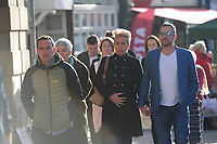 Pictured: Family and friends arrive at the inquest in Welshpool, mid Wales, UK. Monday 22 October 2018<br /> Re: The Coroner's Inquest into the deaths of David Cuthbertson and his five children who died in a house fire in Llangammarch Wells, Powys, will take place today (22 Oct 2018) in Welshpool, mid Wales, UK.<br /> 68 year old David Cuthbertson, 68, died in the fire in October 2017 along with children Gypsy Grey Raine, 4, Patch Raine, 6, Misty Raine, 9, Reef Raine, 10, and Just Raine, 11.<br /> Three other children escaped the fire.