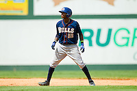 Tim Beckham (22) of the Durham Bulls takes his lead off of second base against the Charlotte Knights at Knights Stadium on August 18, 2013 in Fort Mill, South Carolina.  The Bulls defeated the Knights 8-5 in Game One of a double-header.  (Brian Westerholt/Four Seam Images)