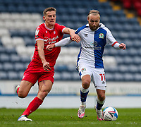 Blackburn Rovers' Harry Chapman battles with Nottingham Forest's Ryan Yates<br /> <br /> Photographer Alex Dodd/CameraSport<br /> <br /> The EFL Sky Bet Championship - Blackburn Rovers v Nottingham Forest - Saturday 17th October 2020 - Ewood Park - Blackburn<br /> <br /> World Copyright © 2020 CameraSport. All rights reserved. 43 Linden Ave. Countesthorpe. Leicester. England. LE8 5PG - Tel: +44 (0) 116 277 4147 - admin@camerasport.com - www.camerasport.com