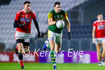 David Moran, Kerry in action against Luke Connolly, Cork, during the Munster GAA Football Senior Championship Semi-Final match between Cork and Kerry at Páirc Uí Chaoimh in Cork.