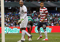 MEXICO CITY, MEXICO - AUGUST 15, 2012:  Tim Howard (1) and Fabian Johnson (23) of the USA MNT during an international friendly match against Mexico at Azteca Stadium, in Mexico City, Mexico on August 15. USA won 1-0.