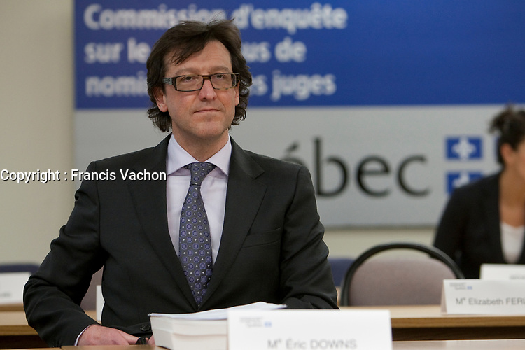 Eric Downs listens as commissioner Michel Bastarache unveils the report of his inquiry in the appointment of judges, commonly know as the Commission Bastarache, Wednesday January 19, 2011.<br /> <br /> PHOTO :  Francis Vachon - Agence Quebec Presse