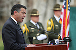 Nevada Gov. Brian Sandoval speaks at a ceremony to unveil a freeway sign dedicating I-580 in honor of Carson City Sheriff's Deputy Carl Howell at the Nevada Law Enforcement Officers Memorial in Carson City, Nev., on Tuesday, Dec. 8, 2015. Dep. Howell was killed in the line of duty on Aug. 15, 2015. <br /> Photo by Cathleen Allison