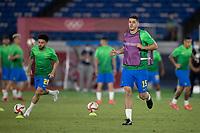 22nd July 2021; Stadium Yokohama, Yokohama, Japan; Tokyo 2020 Olympic Games, Brazil versus Germany; Nino of Brazil warms up before the match