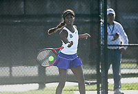 Fayetteville's Pallavi Verghese hits, Monday, October 11, 2021 during the 6A state girls and boys tennis tournament at Memorial Park in Bentonville. Check out nwaonline.com/211012Daily/ for today's photo gallery. <br /> (NWA Democrat-Gazette/Charlie Kaijo)