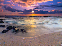 A beautiful sunset at Pine Trees Beach (a.k.a. Kohanaiki Beach Park), Big Island.