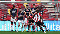 Ivan Toney of Brentford blasts a free-kick into the Middlesbrough defensive wall during Brentford vs Middlesbrough, Sky Bet EFL Championship Football at the Brentford Community Stadium on 7th November 2020