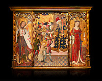 Gothic altarpiece depicting left to right - the Archangel Gabriel, the martyrdom of Santa Eulalia and St Caterina, by Bernat Martorell, circa 1442-1445, Temperal and gold leaf on wood.  National Museum of Catalan Art, Barcelona, Spain, inv no: MNAC  1442. Against a black background.