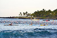 swimmers, boats, paddlers, kayaker, all volunteers helping at the Ironman Triathlon World Championship Kailua Kona, Hawaii, Big Island, Pacific Ocean