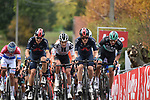 The peloton led by Dylan van Baarle (NED), team mate Michal Kwiatkowski (POL) Ineos Grenadiers and Marcus Burghardt (GER) Bora-Hansgrohe on the first ascent of the Paterberg during the Tour of Flanders 2020 running 244km from Antwerp to Oudenaarde, Belgium. 18th October 2020.  <br /> Picture: Serge Waldbillig   Cyclefile<br /> <br /> All photos usage must carry mandatory copyright credit (© Cyclefile   Serge Waldbillig)