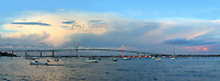 A panoramic capture of Jamestown Harbor