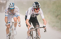 Chris Froome (GBR/SKY) 'left behind' after a mechanical by his teammates (who're riding at the front of the peloton) on the gravel section after the top of the Montée du plateau des Glières (HC/1390m)<br /> Alexander Kristoff (NOR/UAE) following him...<br /> <br /> Stage 10: Annecy > Le Grand-Bornand (159km)<br /> <br /> 105th Tour de France 2018<br /> ©kramon