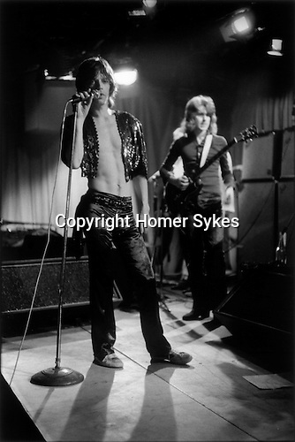 The Rolling Stones, a rehearsal at the Institute of Contemporary Arts (ICA) London. They were to perform later that evening at the Marque Club, 165 Oxford Street. Mick Jagger, Mick Taylor,  1970s UK