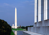 The Washington Monument as seen from the steps of the Lincoln Memorial. Washington, DC.