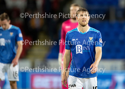 St Johnstone v Celtic…26.09.18…   McDiarmid Park     BetFred Cup Quarter Final<br />A dissappointed David Wotherspoon at full time<br />Picture by Graeme Hart. <br />Copyright Perthshire Picture Agency<br />Tel: 01738 623350  Mobile: 07990 594431