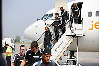 Wednesday 28 August 2013<br /> Pictured: Swansea players disembark from their plane upon arrival to Bucharest Airport in Romania.<br /> Re: Swansea City FC arrive to Romania for a press conference and training session, a day before their UEFA Europa League, play off round, 2nd leg, against Petrolul Ploiesti in Romania.