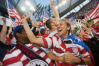 Fans of the United States Men's National Team celebrating the USA scoring their second goal against Guatemala at Livestrong Sporting Park in Kansas City, Kansas in a World Cup Qualifier on Tue. Oct. 16, 2012.