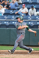 Jesse Hodges #19 of the Boise Hawks bats against the Everett AquaSox at Everett Memorial Stadium on July 22, 2014 in Everett, Washington. Everett defeated Boise, 6-0. (Larry Goren/Four Seam Images)
