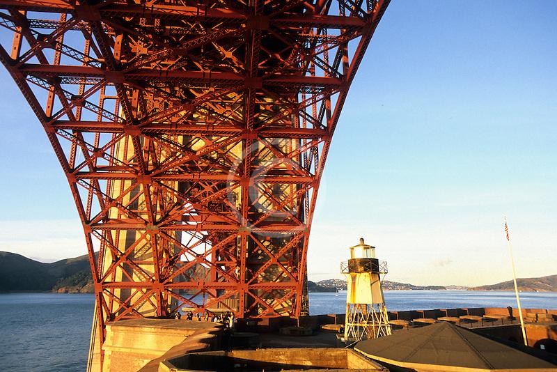 California, San Francisco, Fort Point lighthouse beneath Golden Gate Bridge
