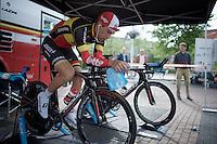 Jens Debusschere (BEL/Lotto-Soudal) warming up<br /> <br /> stage 1: prologue<br /> Ster ZLM Tour 2015