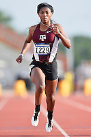 Aaliyah Brown of Texas A&M competes in 100 meter prelims during West Preliminary Track and Field Championships, Friday, May 29, 2015 in Austin, Tex. (Mo Khursheed/TFV Media via AP Images)