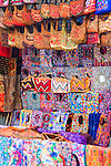 Colorful handmade Mayan  textiles  for sale at market in Santiago Atitlan, Guatemala