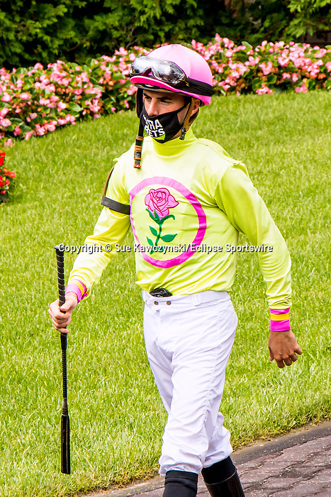 JULY 11, 2020 : Jockey Florent Geroux in the paddock for  the Grade 2 Ruffian  Stakes, going 1 mile, at Belmont Park, Elmont, NY.  Sue Kawczynski/Eclipse Sportswire/CSM